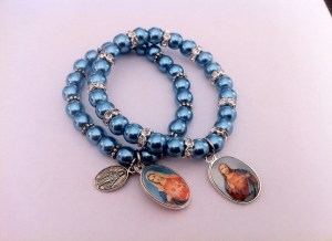 Immaculate Heart of Sacred Heart Metallic Blue Bracelet
