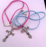 Boys or Girls Leather Chain with Cross
