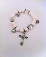 White Bracelet with Cross and Charms