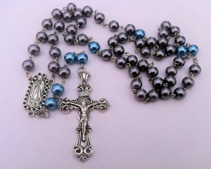 Blue and Silver Guadalupe Rosary